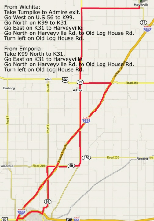 Routes to Tallgrass from Wichita and Emporia